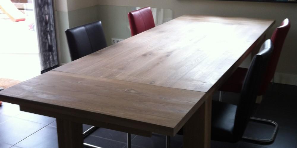 eiken tafel, eiken tafel verlengbaar, tafel met aansteekbladen, eiken ...