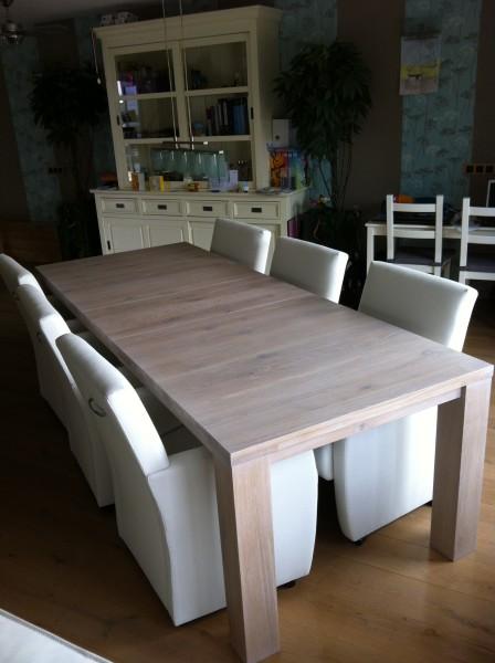 uitschuifbare tafel STRETCH in lak extra wit, review uitschuifbare eiken tafel STRETCH, eiken tafel afwerking extra wit gelakt, uitschuifbare tafel wit