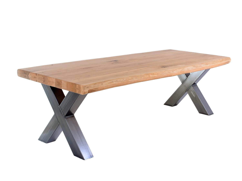 Tafel met x poot xerxes ii de eiken tafel nl for Eiken tafel