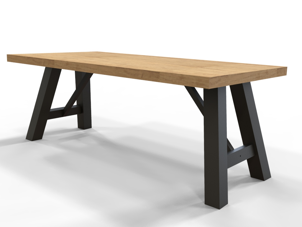 Brandal industriele tafel steigerhout stalen frame pure wood design