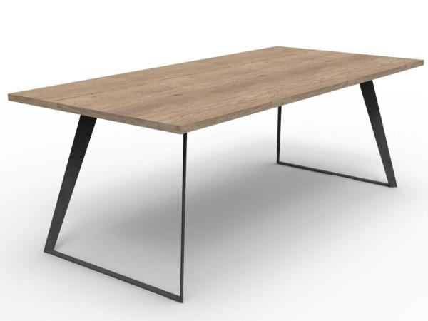 Industriele Tafel Poten : Industriële tafel met u poot smal massief eiken art