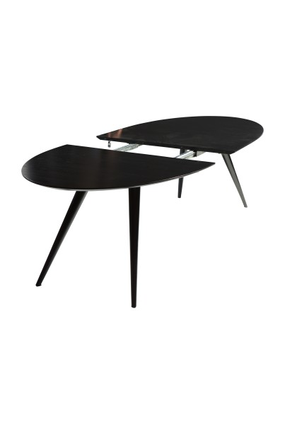 ovale uitschuiftafel ECLIPSE in black stained ash veneer en black powder coated metal uitgeschoven
